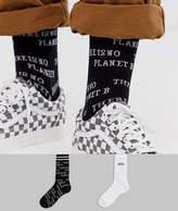 Asos Design ASOS DESIGN ankle socks with planet earth design 2 pack