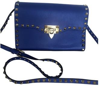 Valentino Guitar Rockstud Blue Leather Handbags