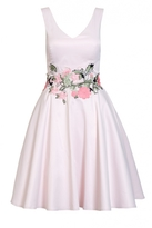Quiz Pale Pink Satin Floral Print Skater Dress