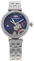 Juicy Couture Silvertone Crystal Bezel Floral Dial Bracelet Watch