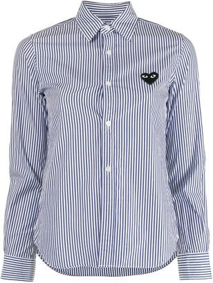 Comme des Garcons Stripe-Print Embroidered-Logo Shirt