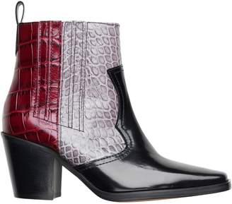 Ganni Colourblock Embossed Leather Chelsea Boots