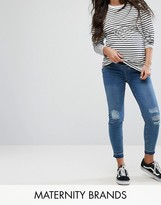 New Look Maternity Over Bump Distressed Knee Jeans