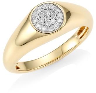 Sydney Evan Mini Round Pave Diamond & 14K Yellow Gold Signet Ring