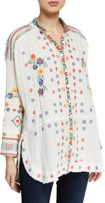 Johnny Was Florence Embroidered Long-Sleeve Gauze Blouse