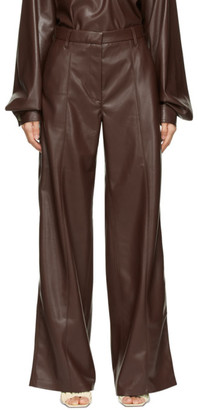 Nanushka Burgundy Vegan Leather Cleo Trousers