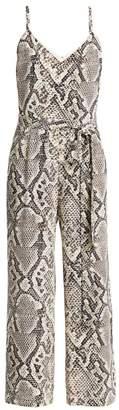 L'Agence Jaelyn Python Print Silk Jumpsuit