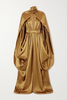 Balmain Draped Cape-effect Silk-satin Gown - Brown