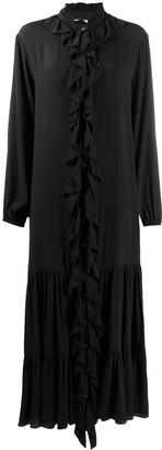Semi-Couture Frilled-Trim Midi Dress