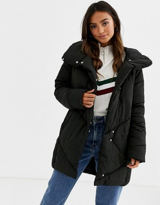 JDY oversized chevron padded jacket-Black
