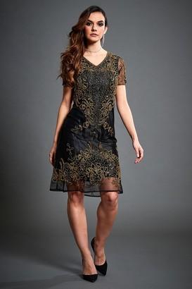 Jywal London Embellished Flapper Dress In Gold