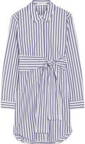 Alexander Wang Tie-front Striped Cotton-poplin Mini Dress - Blue