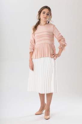 Luxe Label Pleated Pink Shimmer Top