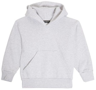 Balenciaga Kids Unisex Cotton-blend Hooded Sweatshirt - Light Grey
