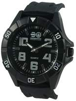 Crosshatch Men's Quartz Watch with Black Dial Analogue Display and Black Silicone Strap CRS17/C