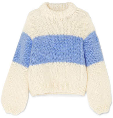 Ganni Julliard Striped Mohair And Wool-blend Sweater - Sky blue