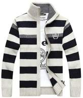 BATUOS Men's Full Zip Cadet Collar Striped Sweater Winter Fashion