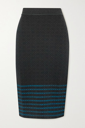 Victoria Beckham Stretch-cotton Jacquard-knit Skirt - Dark green