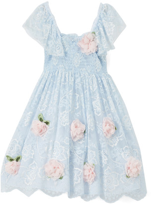 Biscotti Girls' Special Occasion Dresses BLUE - Blue Floral-Accent Smocked Dress - Toddler & Girls