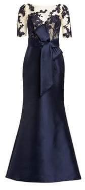 Badgley Mischka Women's Lace Sleeve Gown - Navy - Size 8