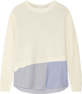 Thakoon layered waffle-knit and stretch-poplin top