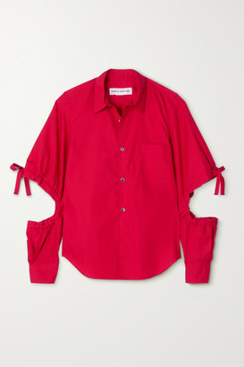 COMME DES GARÇONS GIRL Tie-detailed Cutout Cotton-poplin Shirt - Red