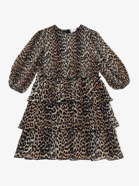 Ganni Pleated Georgette Mini Dress Leopard - 40
