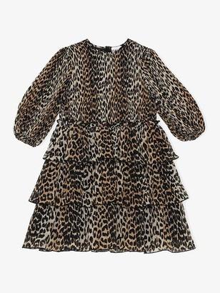 Ganni Pleated Georgette Mini Dress Leopard - 34
