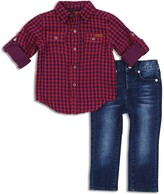 7 For All Mankind Boys' Plaid Shirt & Jeans Set