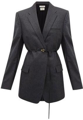 Bottega Veneta Single-breasted Tailored Wool-blend Flannel Jacket - Womens - Dark Grey