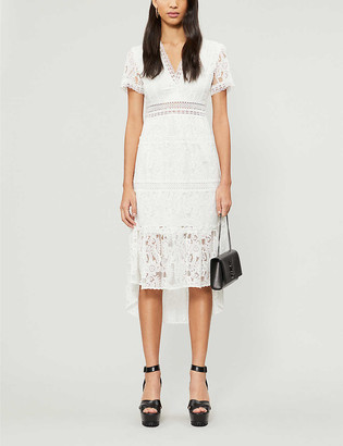 The Kooples V-neck stretch-lace midi dress