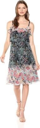 Maggy London Women's Printed Chiffon Cocktail Dress Black/Coral 10