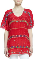 Johnny Was Colorful Daisy Eyelet Blouse, Fiery Red, Petite