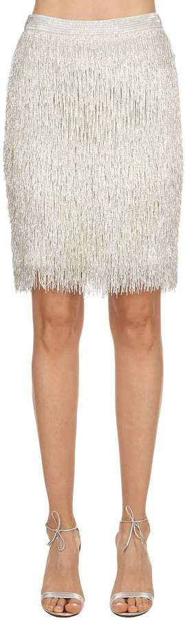 Moschino Beaded Fringe Silk Pencil Skirt