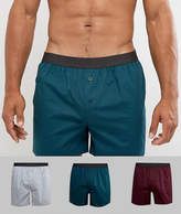 Asos Woven Boxers In Multi Colours 3 Pack Save
