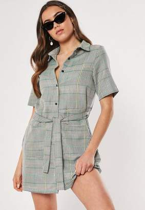 Missguided Gray Plaid Print Tie Waist Shirt Dress