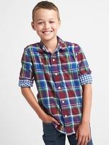 Gap Plaid double-weave convertible shirt