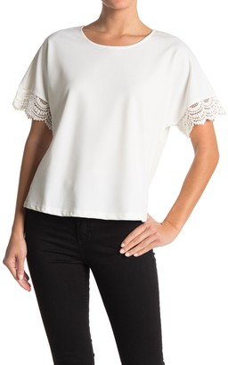 MelloDay Crochet Lace Trim Short Sleeve Top