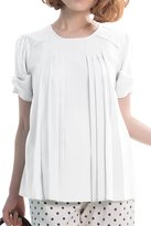 Sweet Mommy Maternity and Nursing Pleated Georgette Blouse with Bow Sleeve WHL