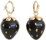 Poporcelain Golden Black Porcelain Strawberry Earrings