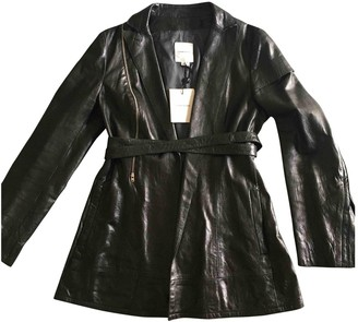 CNC Costume National Black Leather Leather Jacket for Women