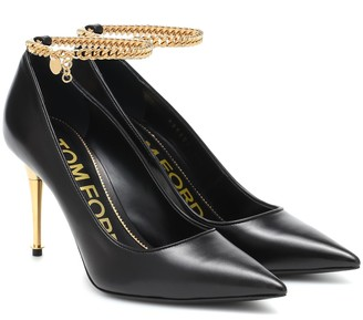 Tom Ford Chain-trimmed leather pumps
