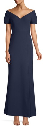 BCBGMAXAZRIA Off-The-Shoulder Stretch-Crepe Gown