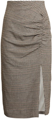 Veronica Beard Tamic Ruched Plaid Skirt