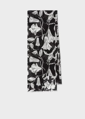 Women's Black 'Floral Cut Out' Motif Silk-Blend Scarf