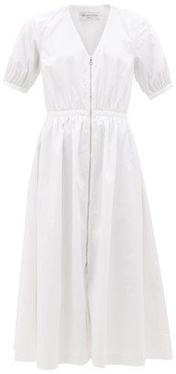 Officine Generale Noemie Zipped Cotton Midi Dress - Womens - White