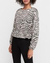 Express Zebra Print Peplum Sweatshirt