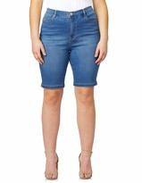 Curve Appeal Bermuda Shorts w/ Side Vent in Blue Size 14W