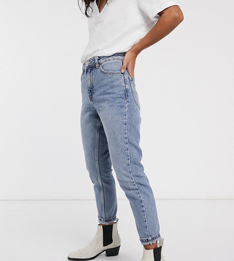 Topshop Petite mom jeans in bleach wash