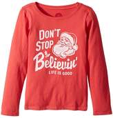 Life is Good Don't Stop Believin' Santa Long Sleeve Crusher Tee Girl's Long Sleeve Pullover